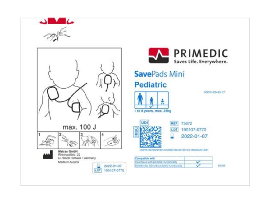 Pad-uri pediatrice pentru defibrilator Metrax-Primedic